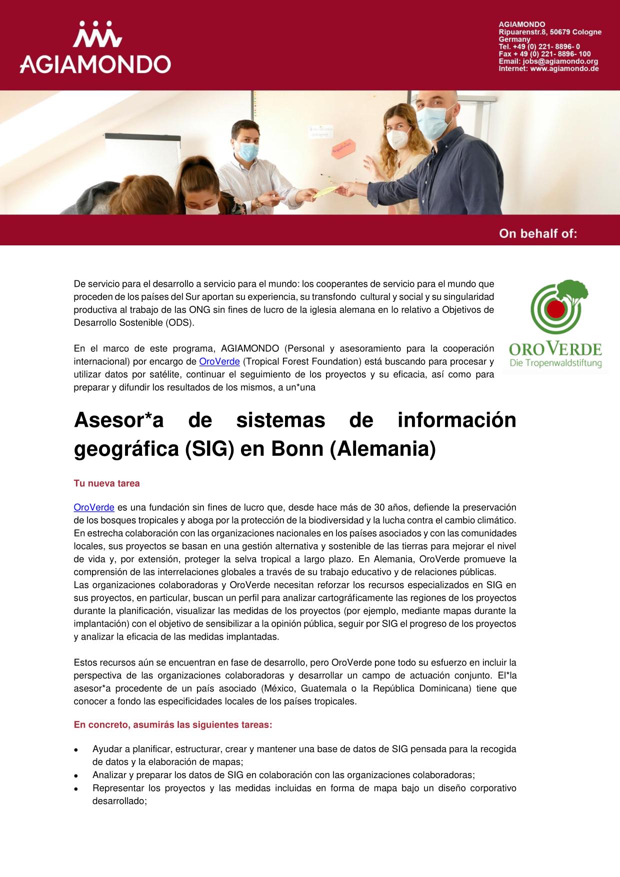 Convocatoria: Asesor de Sistema de Información Geográfica (SIG)